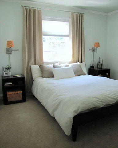 bedroom design home window behind bed