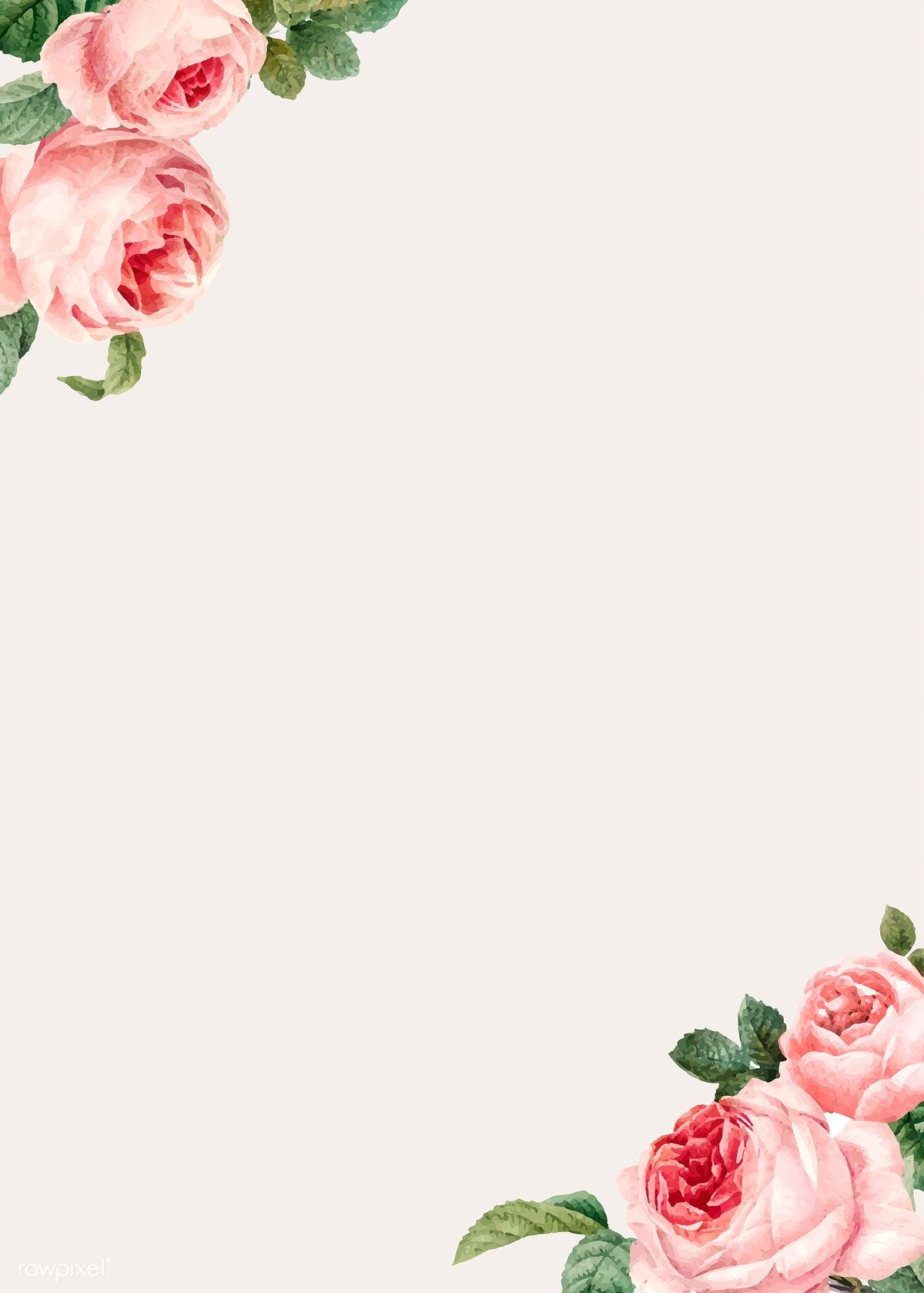 Hand Drawn Pink Roses Frame On Beige Background Vector Free Image By Rawpixel Com Niwat Rose Frame Flower Frame Vector Free