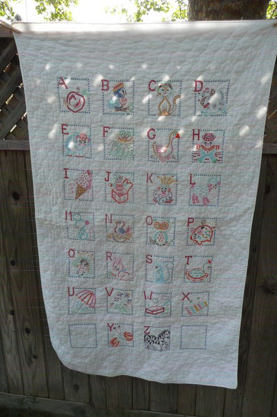 Vintage Embroidered ABCs Baby Quilt or Wall by MeritageMart, $38.00