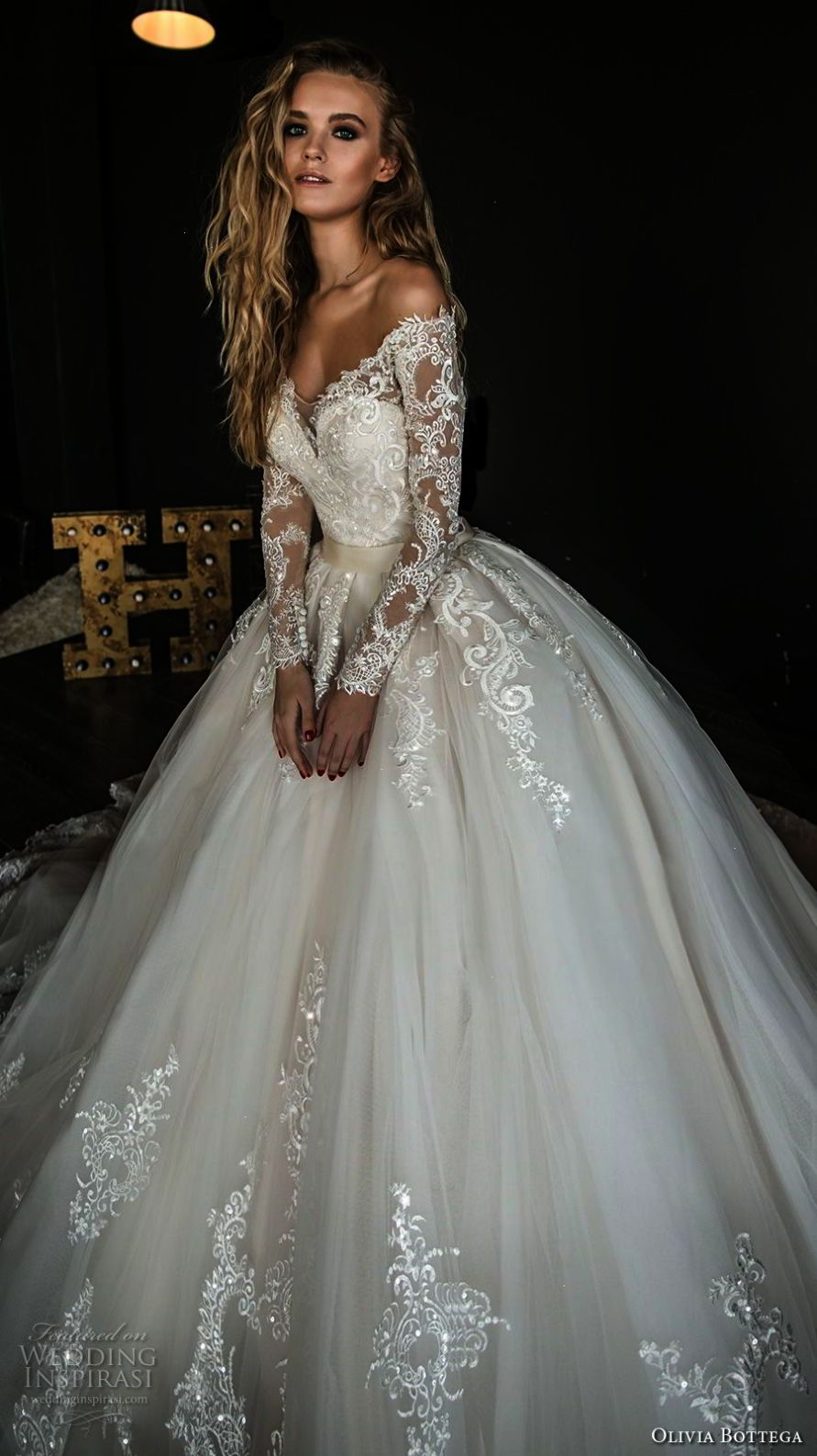 Incredible beaded lace a line wedding gown breathtaking in