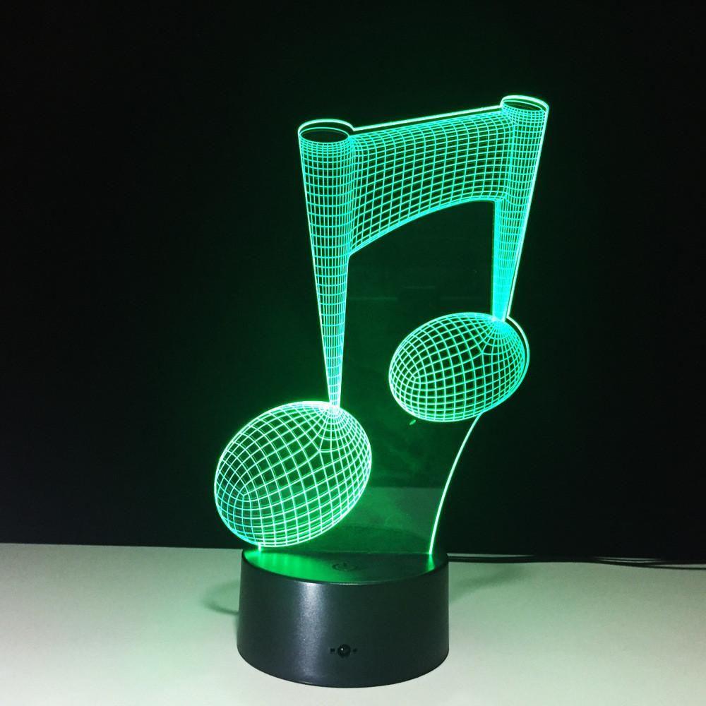 7 Color Change Led Lamp 3d Music Note Night Light Musical Note Instrument Light 7 Color Change Led Lamp 3d M 3d Led Night Light Color Changing Led Night Light
