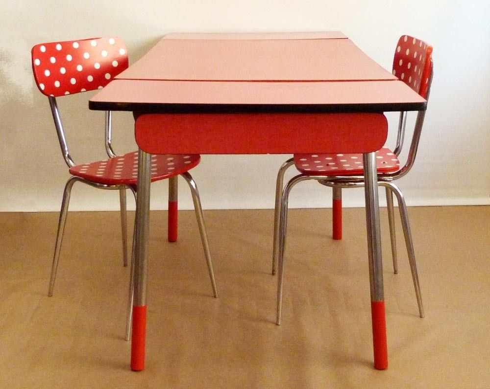 Table Vintage Formica Rouge Meubles Et Rangements Par Archi Retro