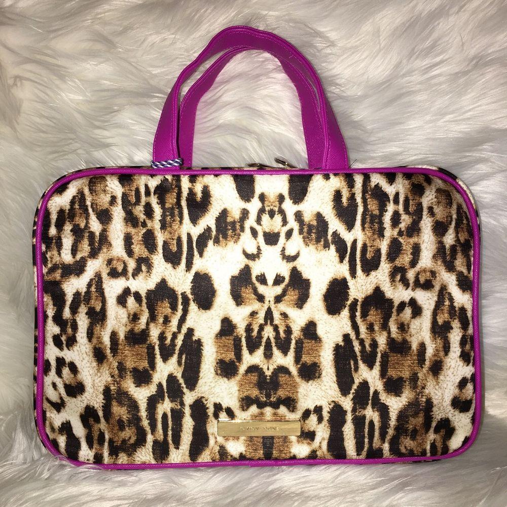 36440b769722 Tartan twine makeup cosmetic bag weekender leopard pink case work travel  ebay jpg 1000x1000 Purple leopard