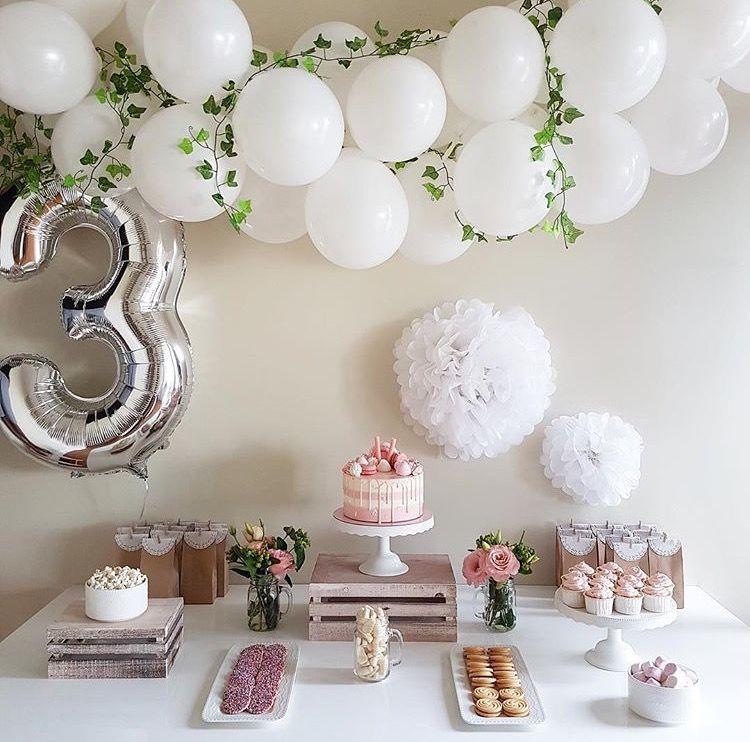 white balloons w floral accents birthday table decorations third birthday girl birthday table
