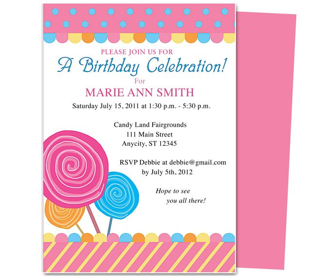 Kids Party  Lollipop Kids Birthday Party Invitation Template - free birthday party invitation template