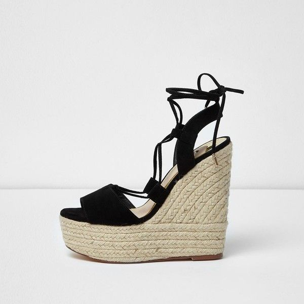 0baa1b7e3b5 River Island Black tie up espadrille platform wedges ( 110) ❤ liked on Polyvore  featuring shoes
