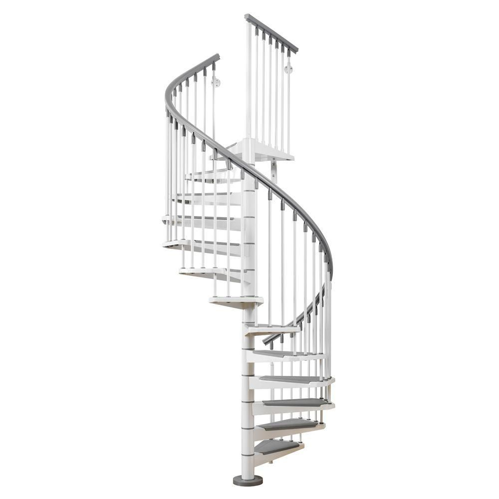 Best Arke Eureka 47 In White Spiral Staircase Kit Spiral 400 x 300
