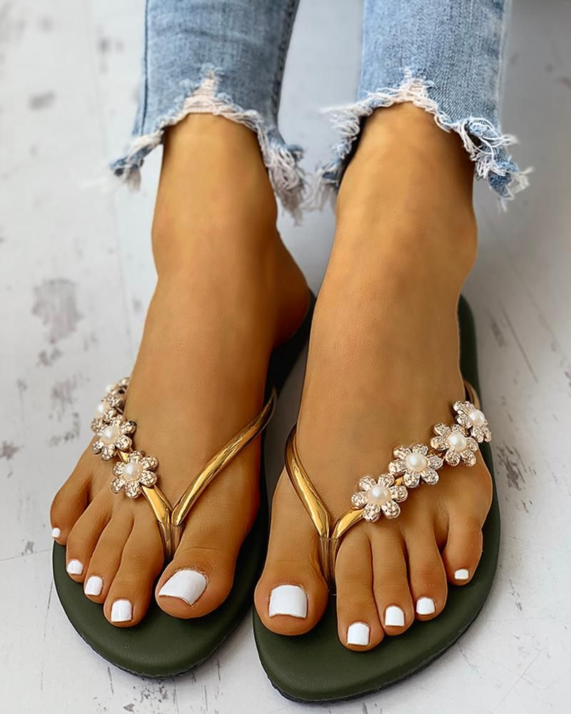 Flower Embellished Toe Flat Sandals is part of Flat sandals, Toe ring sandals, Sandals, Shoes, Open toe sandals, Womens sandals flat - colorgreen sizeUS7,US6,US5 5,US8 StyleFashion Pattern TypeFloral MaterialPU OccasionCasual Package Include1Sandals Note There might be 23% difference according to manual measurement  Please check the measurement chart carefully before you buy the item    +Please note that slight color difference should be acceptable due to the light and screen
