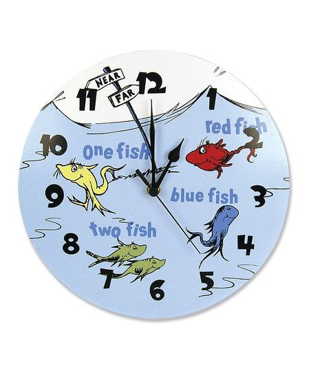 Blue One Fish Two Fish Wall Clock