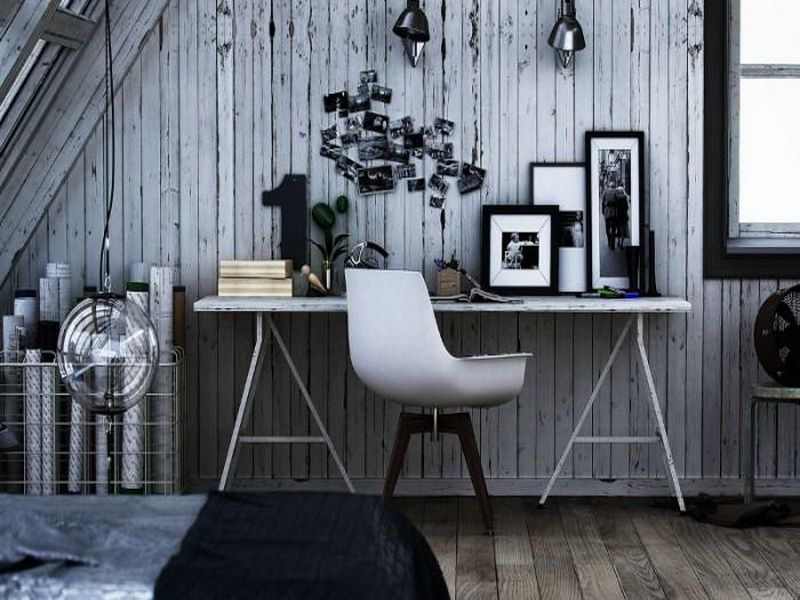 home office ideas women home. Amazing Interior Design And Bookcases Dozen Home Workspaces Rustic Grey Paneling White Chair Office Ideas Site Corsetseek Dot Com Women L