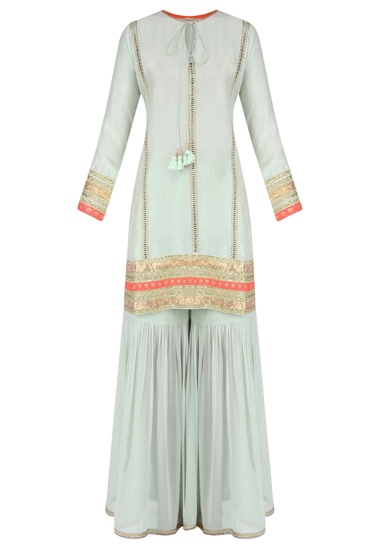 0d885d5ca7 Mint ladder lace kurta with gathered sharara and printed dupatta available  only at Pernia's Pop Up Shop.