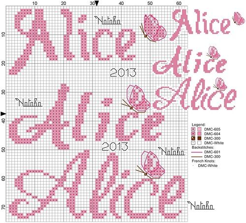 Alice nome punto croce stuff worth saving lettere for Ricamo a punto croce lettere alfabeto