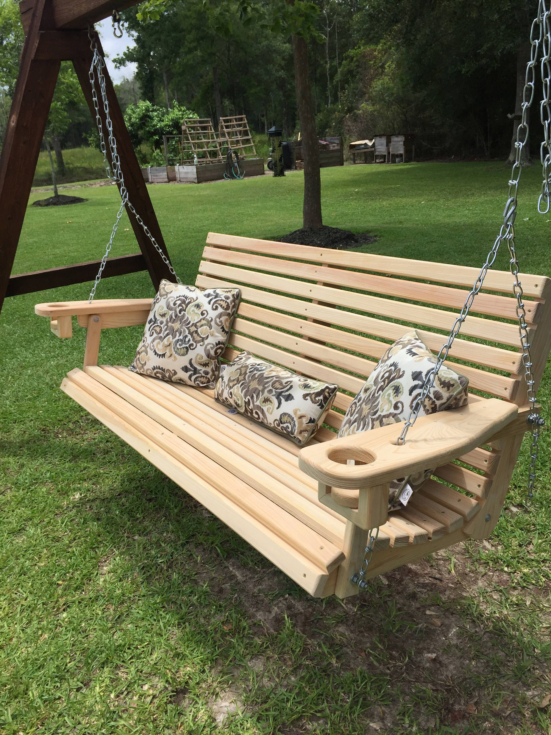 5 Ft Handmade Cypress Porch Swing With Cupholders Custom Etsy Porch Swing Diy Porch Swing Porch Swing Plans