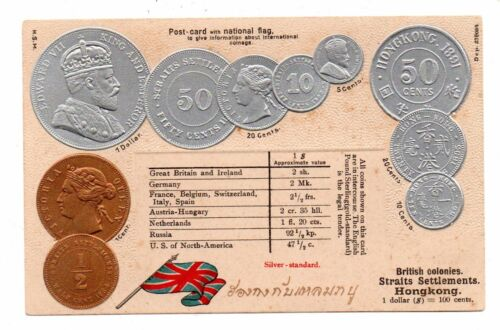 Hong Kong Malaysia Embossed Silver Copper Coins Pc Flag C 1904 14 Coins Poster Prints Print Making