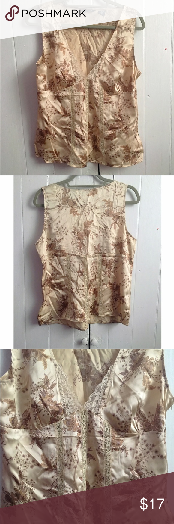 "New York & Co. floral silk camisole top 14 Gorgeous top in excellent pre-loved condition. Looks fabulous under a brown velour/velvet blazer. 100% silk. Side zipper for easy entry. Approx 40"" bust, 23"" length. ✅offers❌trades/PP💰make an offer on bundles New York & Company Tops"