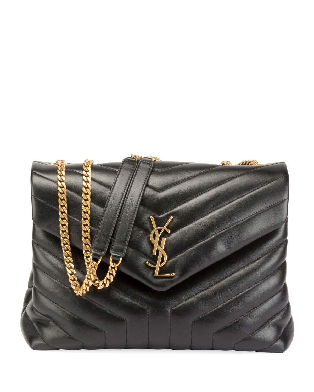 b2eccf45c395 Saint Laurent Loulou Monogram YSL Medium Quilted V-Flap Chain Shoulder Bag