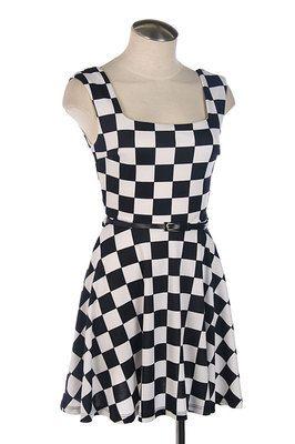 White Checkered Dress Skater Punk