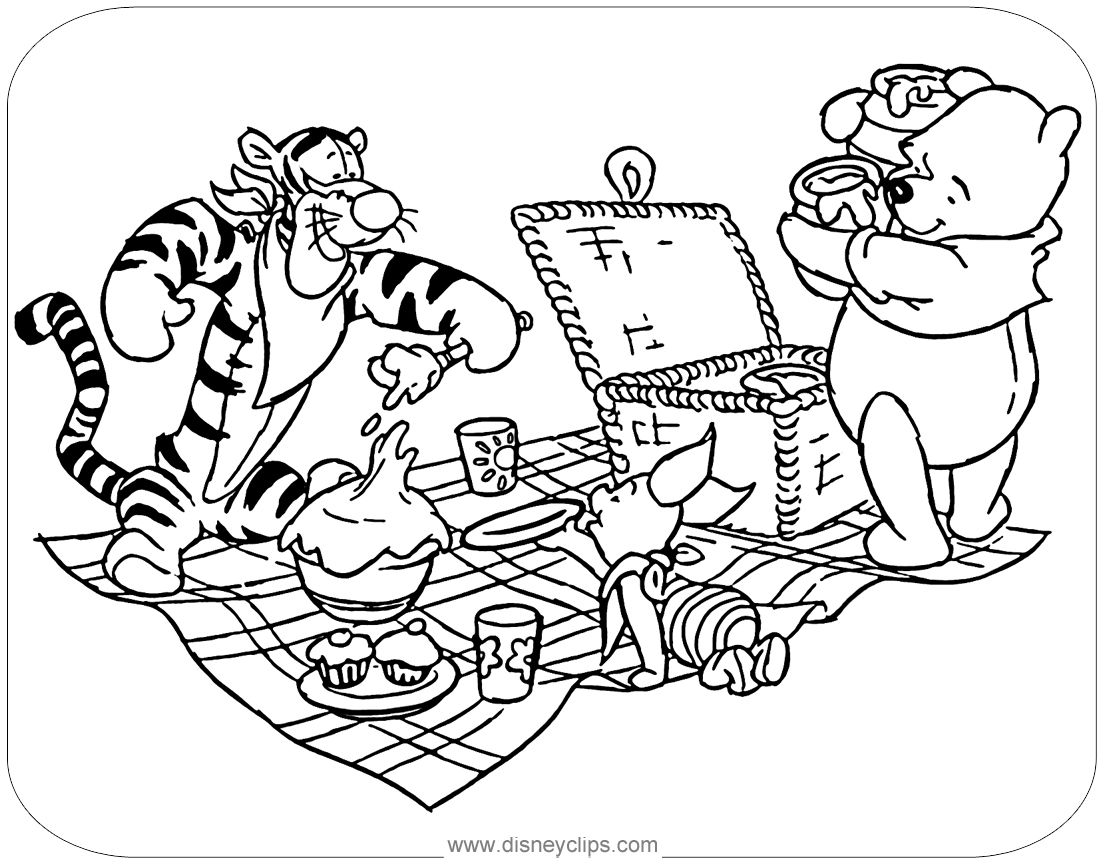 Coloring Page Of Tigger Piglet And Winnie The Pooh Sharing A Picnic Winniethepooh Coloring Pages Disney Coloring Pages Free Coloring Pages