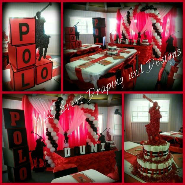 Red Black And White Polo Baby Shower