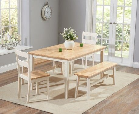 Buy The Chiltern 150cm Oak And Cream Dining Set With Benches And Chairs At  Oak Furniture Superstore