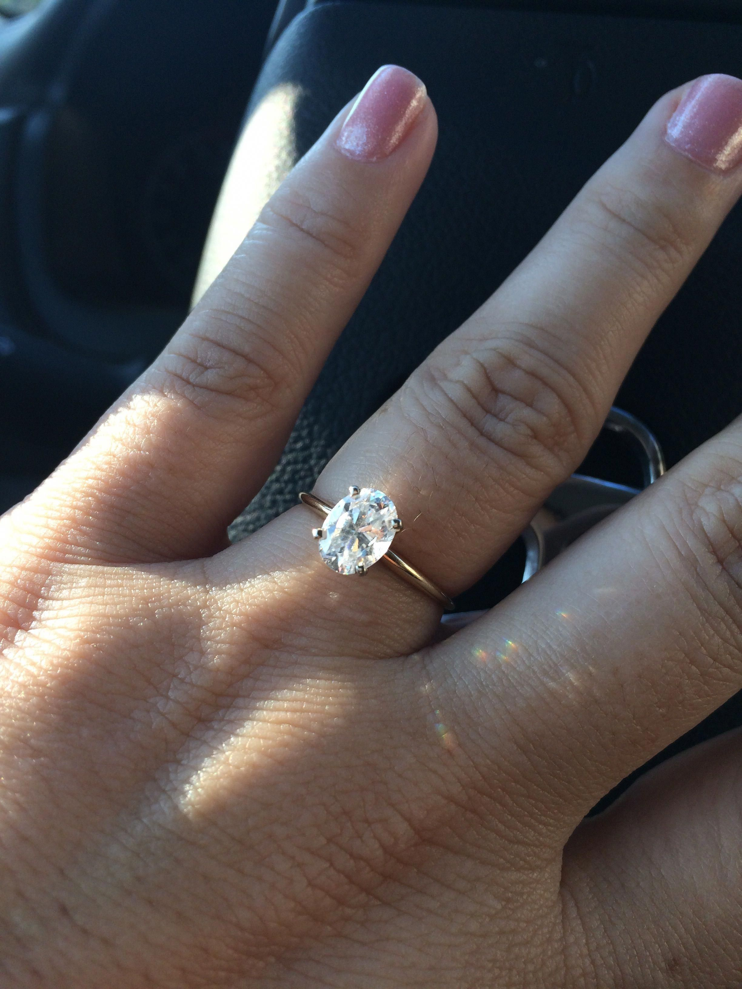 How perfect of a ring! Simple. Solitaire OVAL diamond with