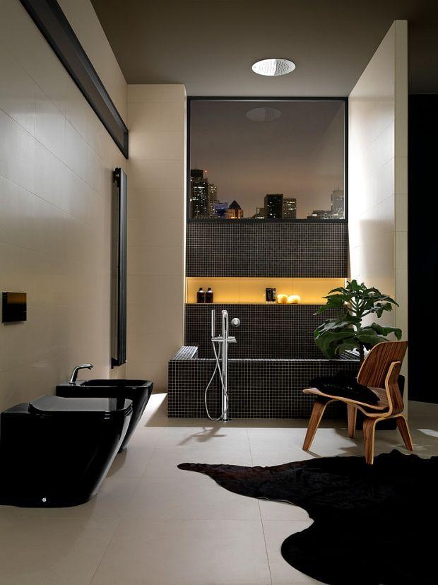 Luxus Bad Design Ideen Fußmatte Schwarze Toilette Bidet Mosaik Wanne