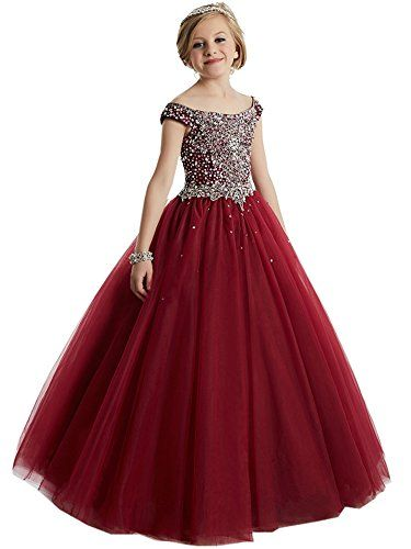 Red Short Sleeve A-line Applique Princess Flower Girl Dress Party Long Gowns
