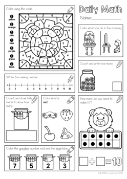Daily Math Set 2 for Kindergarten and Grade 1 by Lavinia