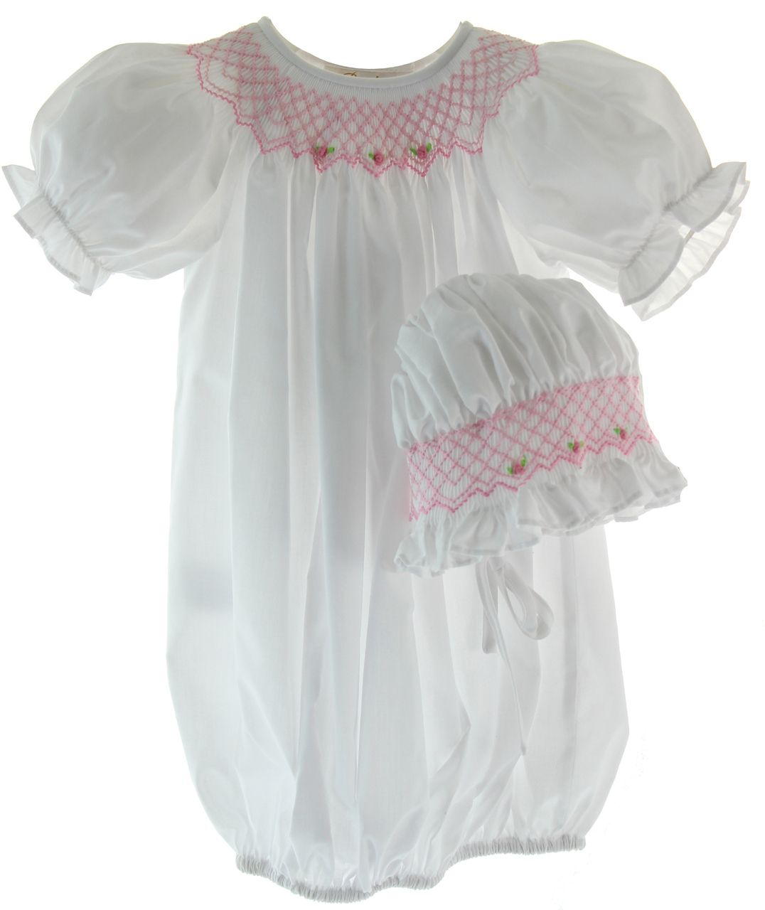 Baby Girls Gown Pink Take Home Outfit with Smocking