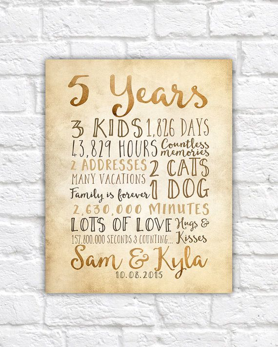 Year Anniversary Gift, 5th Year of Marriage or Dating, Rustic Sign ...
