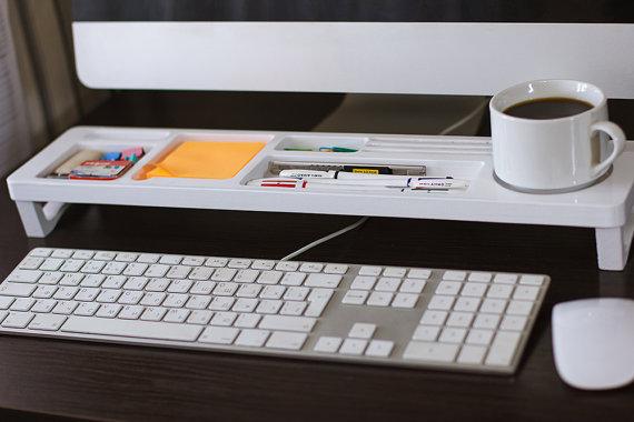 White Wood Desk Organizer Desk Accessories Office Desk Storage