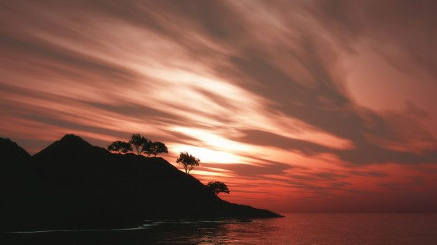 Árboles 3d en la isla contra un cielo al... | Free Photo #Freepik #freephoto #mar #montana #bosque #paisaje