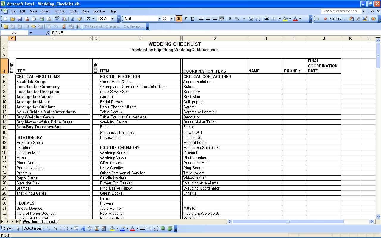 Planning For A Wedding Checklist For Planning A Wedding Wedding Checklist Excel Wedding Checklist Budget Wedding Checklist