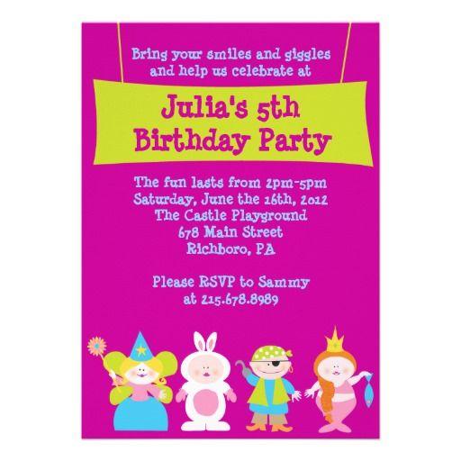 Dress Up Costume Party Birthday Invitation Costumes and Birthdays