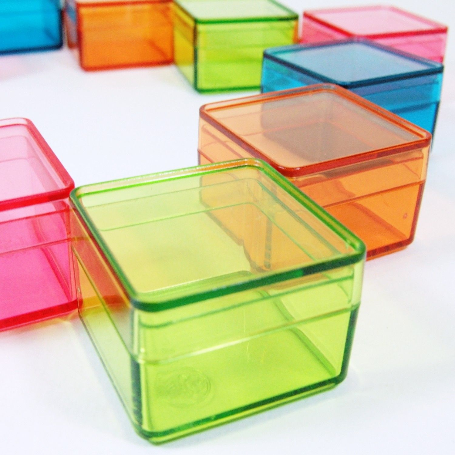 Tiny Color Square Plastic Boxes 12pcs Small Storage Containers