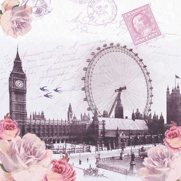 4 Vintage Table Paper Napkins for Decoupage Lunch Decopatch  London City England