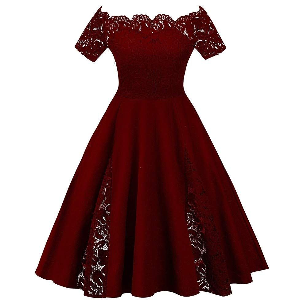 Ytjh Klassische Spitze Abendkleider Weiblicher Schulter Plus Grosse A Linie Kurzarm Casual Style Party Cocktailkleid In 2020 With Images Dresses Formal Dresses Red Formal Dress