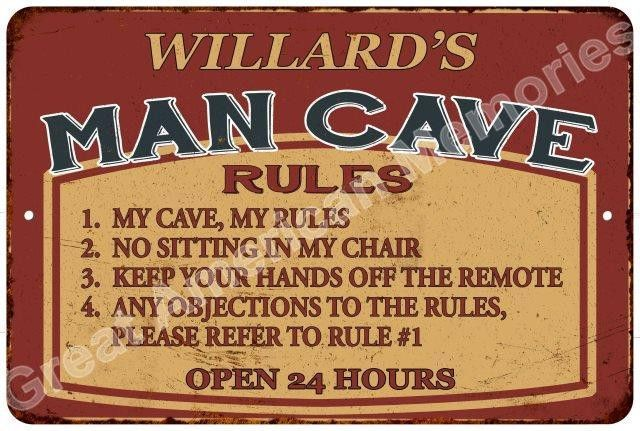 WILLARD'S MAN CAVE Rules Rustic Chic Tin Gift Décor 8x12 Metal Sign 8124500