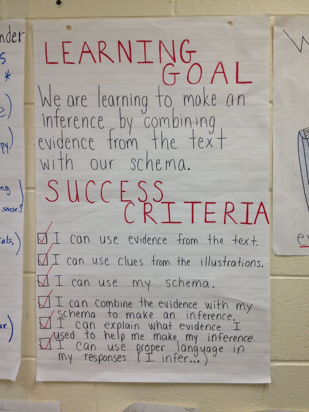 Student Teacher Generated Success Criteria For Inferring Unit Learning Goals Visible Learning Success Criteria Reading comprehension objectives for