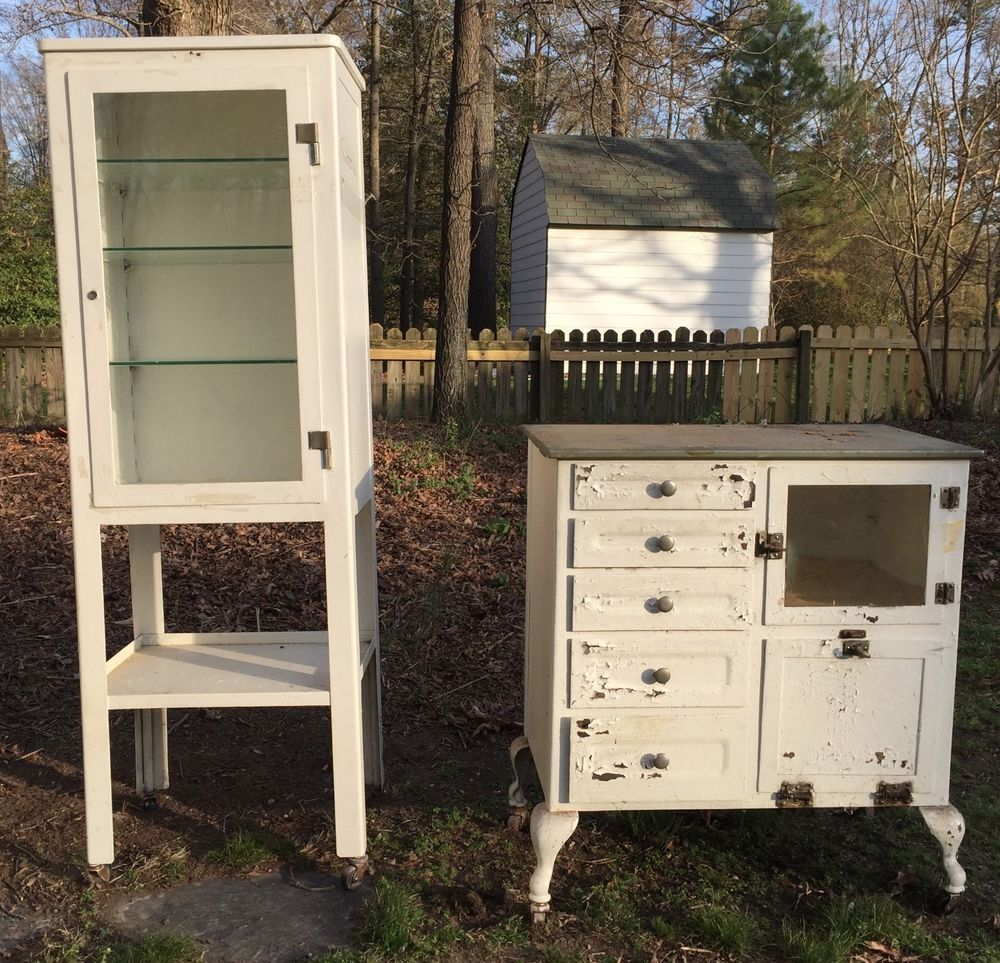 Details About 2 Metal And Glass Vintage Medical Cabinets