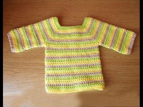 Sweater (de bebé) a crochet (baby) - YouTube | GANCHILLO ( NIÑOS Y ...