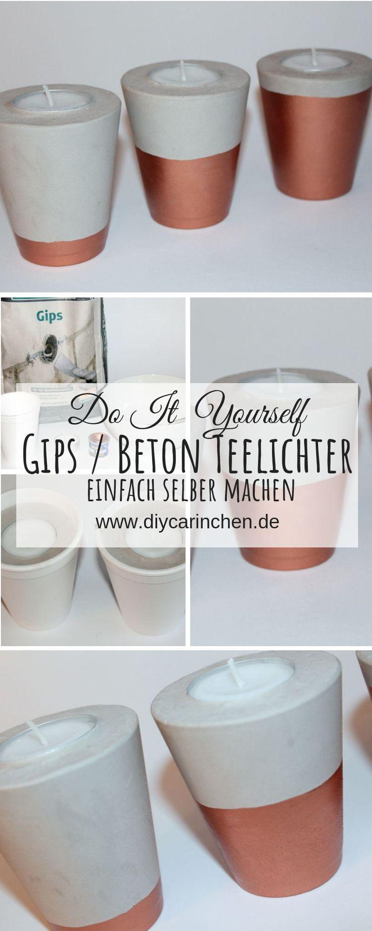 DIY Gips / Beton Teelichter in Kupfer schnell und einfach selber machen