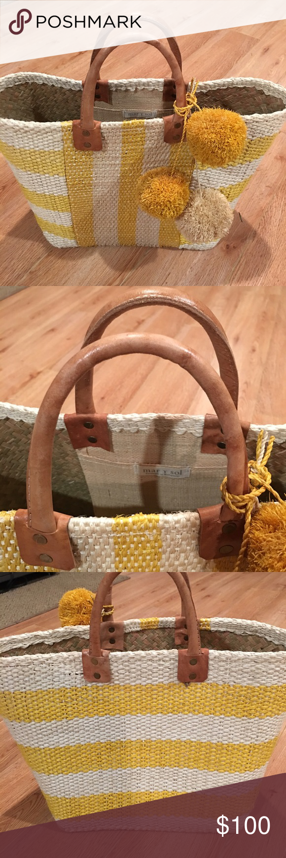 """Yellow Mar Y Sol Tote NWOT Mar y Sol tote. Never used, currently retails for $125 on Bloomingdales. Double handles, unlined, open top. 15""""L x 6""""W x 11""""H, 5"""" handle drop. Bags Totes"""
