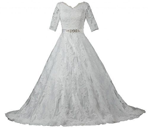 ANTS Women's Modest Half Sleeve Ball Gown Lace Wedding Dresses For Bride, http://www.amazon.com/dp/B00P1T2XD2/ref=cm_sw_r_pi_n_awdm_0qADxbDM8Z4MY