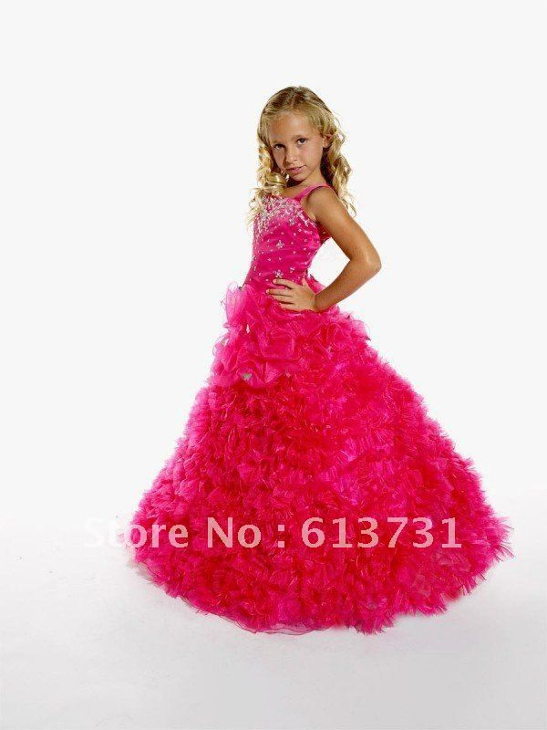 Kids Pageant Dress Turquoise Chiffon Ball Gowns Beaded Crystals ...