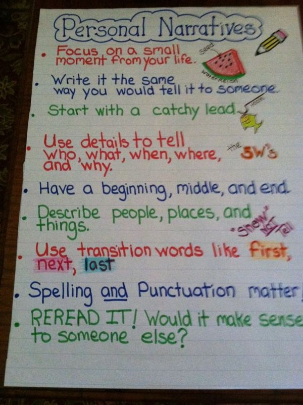 personal narrative anchor chart by marsha hoshko school la  personal narrative anchor chart by marsha hoshko