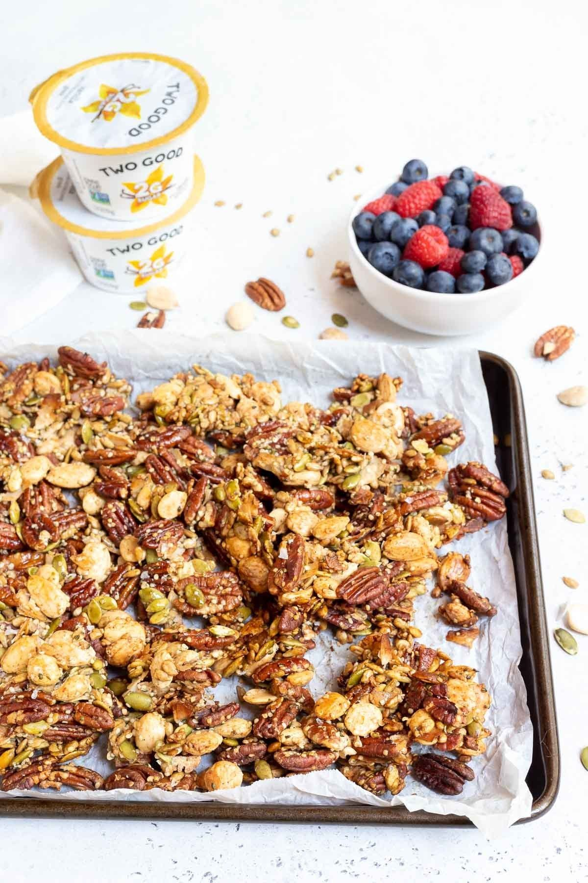 This Low Carb Granola Recipe Is Keto Friendly And Unbelievably Tasty Low Sugar Low Carb And All Low Carb Granola Low Carb Granola Recipe Paleo Diet Food List