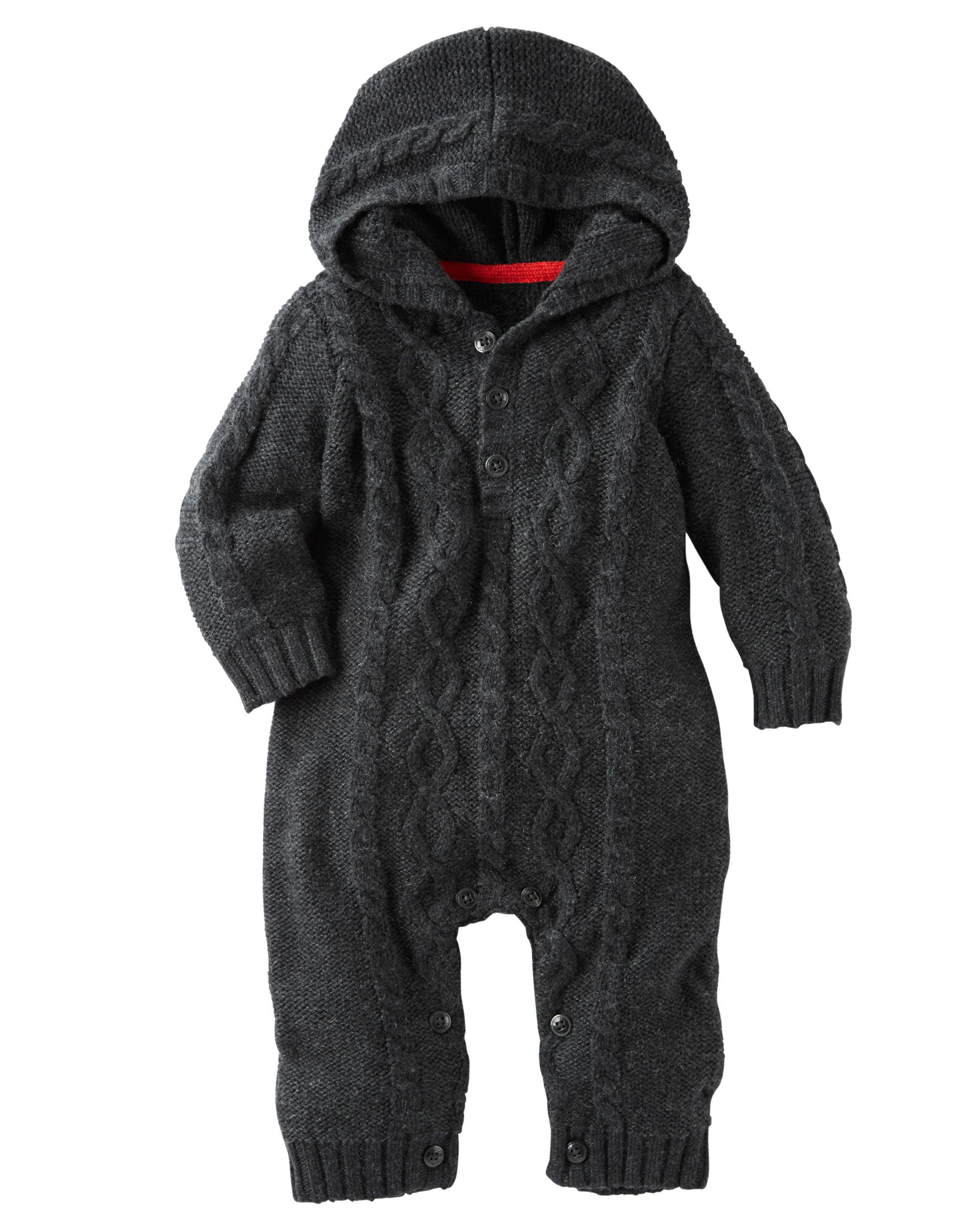 Hooded Cable Knit Coveralls