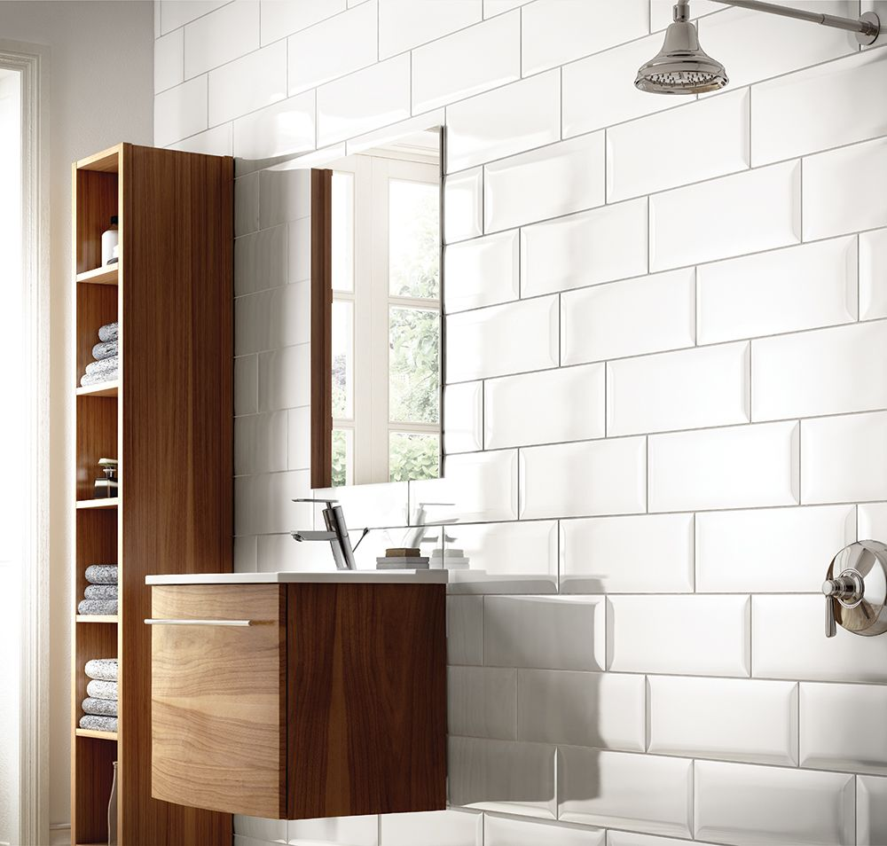 White Beveled Linear Wall Tile | Bathroom Inspiration | Brick Tile ...