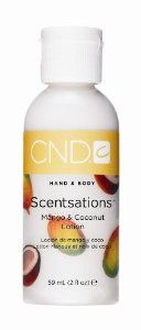 CND Creative Scentsations Hand & Body Lotion Mango & Coconut - 2 oz by CND Cosmetics. $2.95. Great for hands & feet.. A light moisturizer with a harmonious balance of scents that softens and hydrates skin with vitamins A, E and Aloe Vera.. Save 25%!